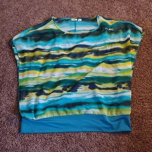 Cato blue yellow&green blouse